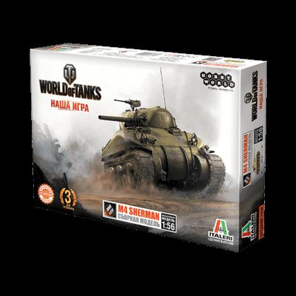 World of Tanks. Сборная модель танка M4 Sherman в масштабе 1:56
