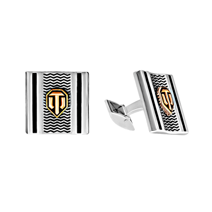 Запонки WoT с позолоченным лого