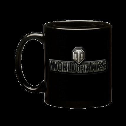 Кружка керамическая, 3D-логотип World of Tanks, чёрная матовая